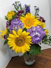 Lush Wildflower  One Sided Vase Arrangement