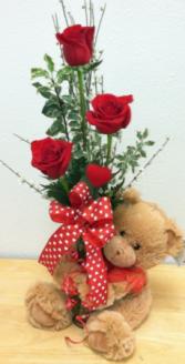 Bear Hug! Vase arrangement