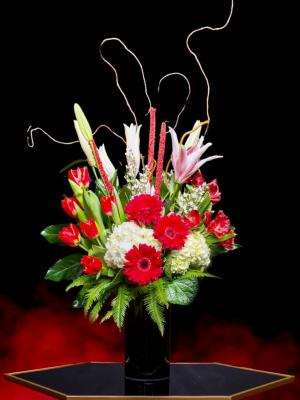 Luxe Red-Daisy Luxury Gerbera Daisy & Tulips Mix  in Irving, TX   Flowers of Las Colinas