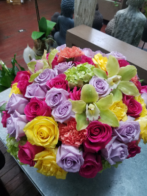 Luxe Roses and Orchids Vase Arrangement in Henderson, TX | RAYFORD FLORIST & GIFTS