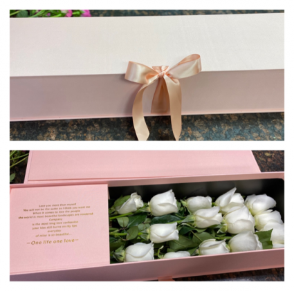 Luxe Roses Satin Box Roses in a Elegant blush satin box