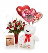 Luxury Dozen Roses with Large Bear, Premium Harry  London Chocolates and Balloons