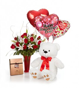 Luxury Dozen Roses with Large Bear, Premium Harry  London Chocolates and Balloons in Clearwater, FL | FLOWERAMA