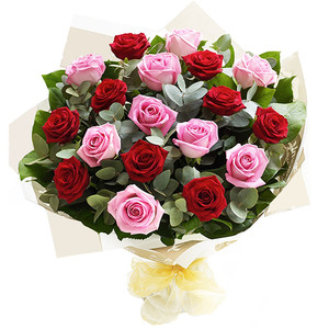 LUXURY PINK & RED ROSES HAND TIED BOUQUET