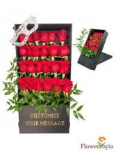 Luxury Portrait Box of Roses  Rose Box With Personalized Message