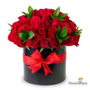 Luxury Red Roses Elegant Box of Roses in Miami, FL | FLOWERTOPIA