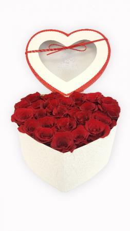 Luxury Roses Arrangement in Heart Shaped Box