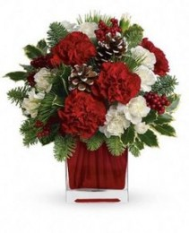 """Holiday Cheer arrangement""Red and white flowers with pinecones and holiday greens in a CLEAR CUBE cube vase."
