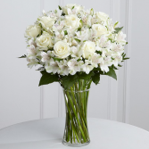 Peaceful white roses and alstromeria arrangement