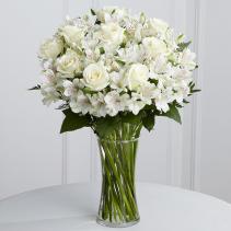 Peaceful white roses and alstromeria arrangement