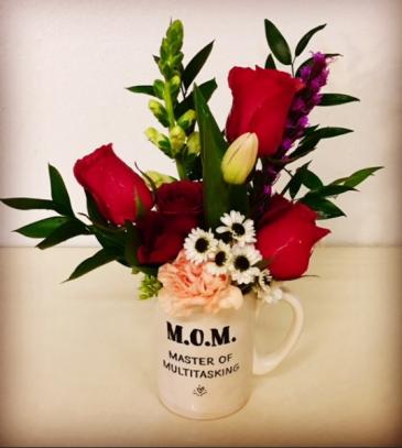 M.O.M. Floral Mug Ceramic MOM Mug in Mix Rose and Floral