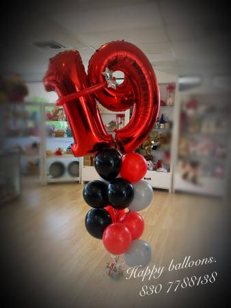 2 digit number balloon bouquet 1/2 doz of balloons  and  digit number