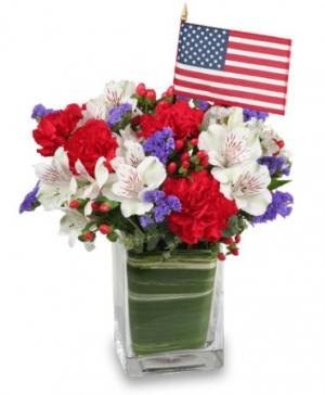 Made In The USA Patriotic Arrangement in Nevada, IA | Flower Bed