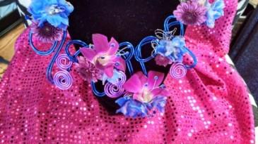 Magenta Blue Flower Neckalce Floral Necklace
