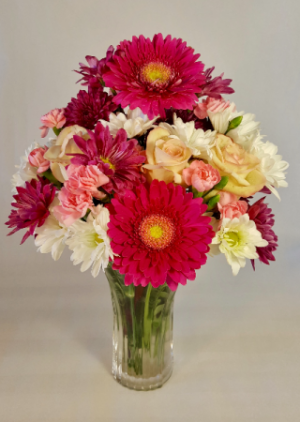 Magenta Magnificence  Frosted Luxury Vase in White Oak, PA | Breitinger's Flowers & Gifts