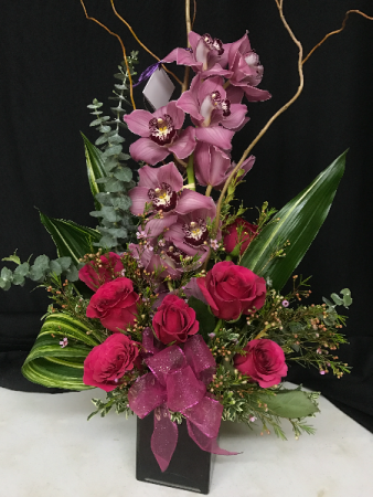 Magenta Roses & Orchid Cube