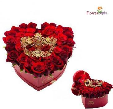 Evident Love Red Roses Heart Box