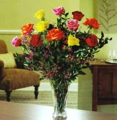 magnificent mix dozen roses