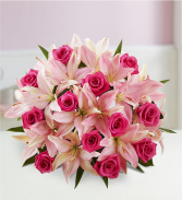 Magnificent Pink Rose & Lily  Hand tied bouquet