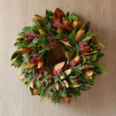 Magnolia Berry Winter Wreath  Next day delivery