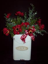 Mail box with silk anemone flowers Silk flowers