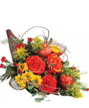 Majestic Cornucopia Floral Arrangement in Calgary, AB | Misty Meadow Flowers