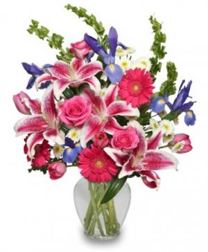 Majestic Magenta Floral Arrangement in Bryson City, NC | Village Florist & Christian Book Store