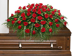 MAJESTIC RED CASKET SPRAY of Funeral Flowers in Naugatuck, CT | TERRI'S FLOWER SHOP