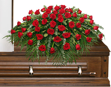 Majestic Red Casket Spray Of Funeral Flowers In Whiting Nj A