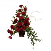 Majestic Tribute Red Rose Pedestal Arrangement