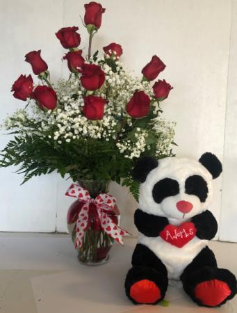 Make 'em Happy combo roses and bear