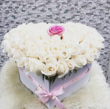 MAKE HER DAY 50 ROSES- LARGE HEART BOX