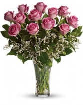 Make Me Blush Dozen Long Stemmed Pink Roses Bouquet