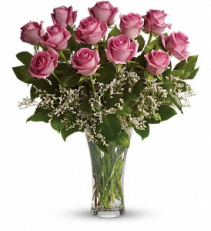 Make Me Blush - Dozen Long Stemmed Pink Roses floral arrangement