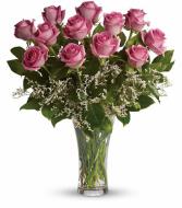 Make Me Blush - Dozen Long Stemmed Pink Roses Love and Romance