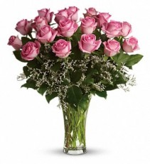 Make Me Blush - Dozen Long Stemmed Pink Roses    Rose Arrangement