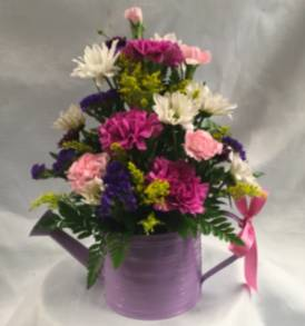 Make Mom smile Watering can with fresh flowers