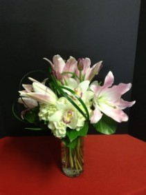 "mallory Lilies, Hydrangea and Orchids 18"" tall"