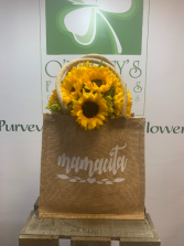 Mamacita Sunflower Burlap Tote Mothers Day 2021