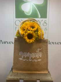 Mamacita Sunflower Burlap Tote Flowers For Her