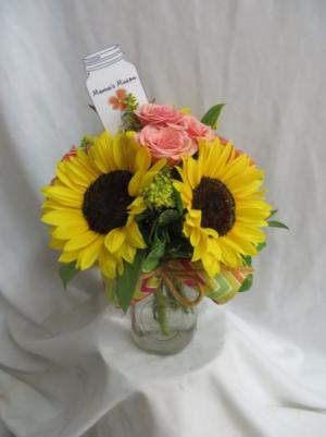 Mama's Mason Fresh Mixed Arrangement in a mason jar in Farmville, VA | CARTERS FLOWER SHOP
