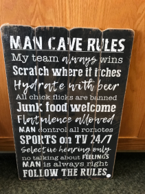 "Man Cave Rules 16"" X 24"" Sign"