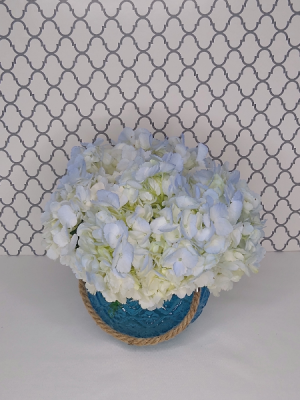 Manager Special  Moroccan Blue Globe with Hydrangeas in Memphis, TN | Something Pretty Too Flower And Gifts
