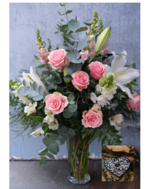 Manhattan, Chocolates and Valentine Balloon  Deluxe Package in Monmouth, OR | PETALS & VINES FLORIST