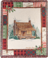 Manual 50x60-inch Tapestry Throw - Christmas Cabin