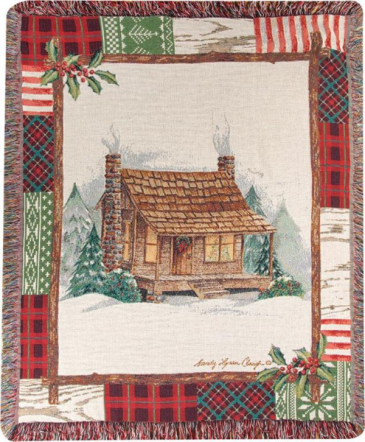 "Christmas Cabin Manual 50x60"" Tapestry Throw"