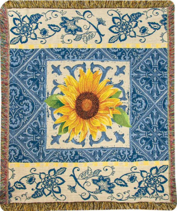 Manual 50x60-inch Tapestry Throw, Indigo Sunflower