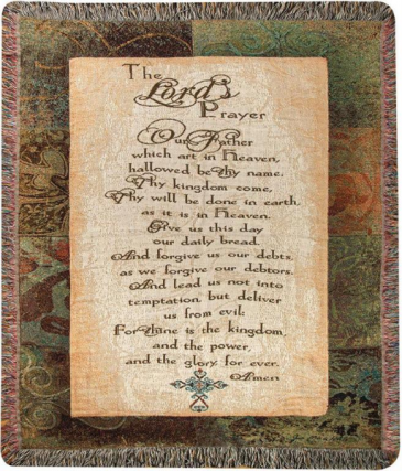 Manual 50x60-inch Tapestry Throw The Lord's Prayer