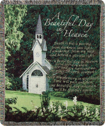 """A Beautiful Day In Heaven Manual 50x60"""" Tapestry Throw"""