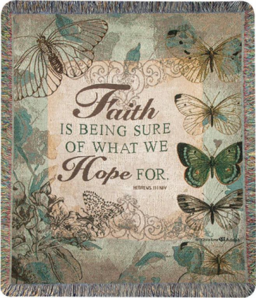 "Faith Is Being Sure Manual 50x60"" Tapestry Throw"